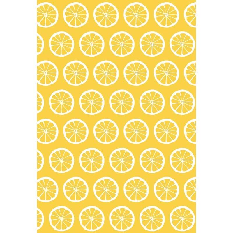 8 ft Vinyl cloth yellow lemon patterns wallpaper ...