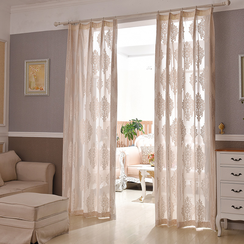 European Style Jacquard Design Home Decoration Modern Voile Curtain Tulle Fabrics Organza Sheer Panel Window