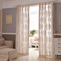 European Style Jacquard Design Home Decoration Modern Voile Curtain Tulle Fabrics Organza Sheer Panel Window
