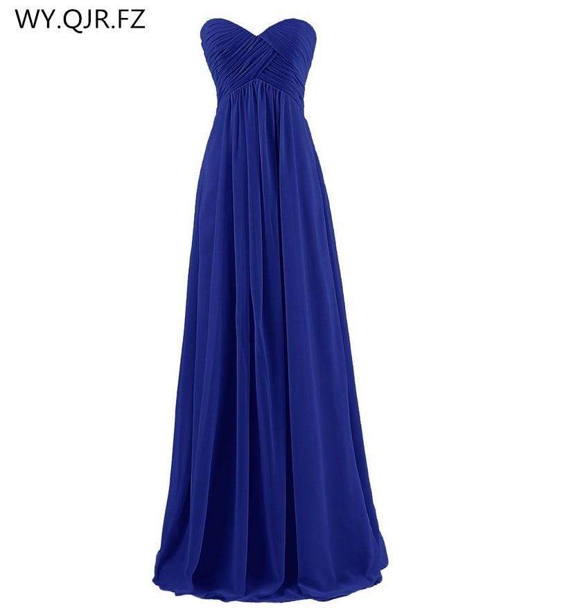 LLY-BL#The New 2019 Autumn Winter Navy Strapless Blue Bridesmaids Dresses Bride Wedding Toast Dress Wholesale Custom Women Dress