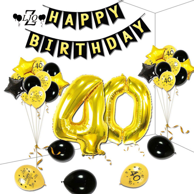 ZLJQ 48pcs 40th Birthday Theme Party Decorations Kit Gold Black Star Balloons Happy Banner Number 40 Big Foil
