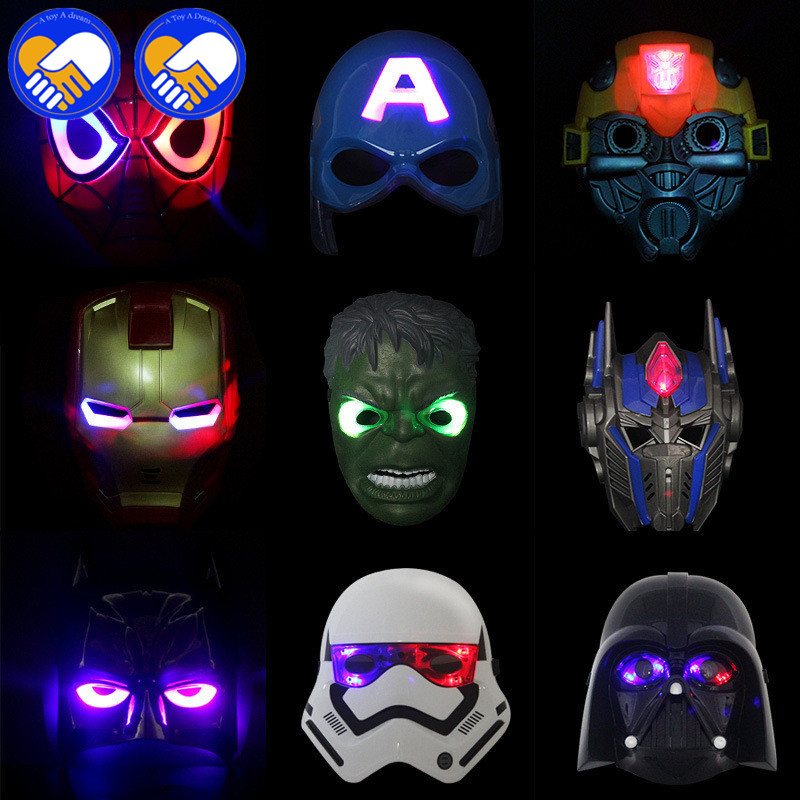 A TOY A DREAM Newest Spider Man Toys Cartoon Animation LED Glowing Spiderman Mask Cosplay Action Figure Toy For Children Gifts