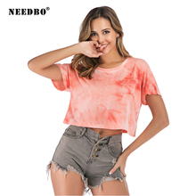 NEEDBO Sexy Crop Top t shirt Women Summer Gradient Color Short Sleeve Casual Dance Tshirts for Tops T-Shirt Femme Vogue