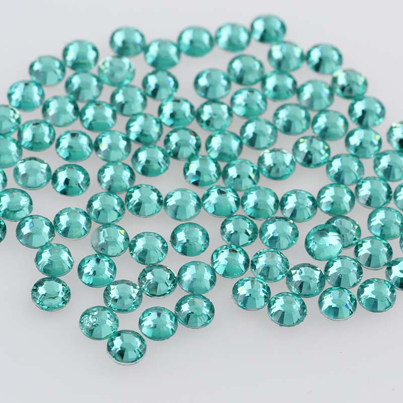 Aquamarine 10000pcs 2mm/3mm/4mm/5mm Round Resin Flatback Rhinestones For DIY Nail Art/Jewelry Decoration