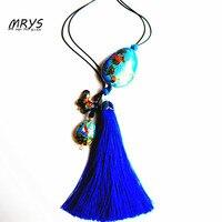 Nova Gota de Água Azul Pássaro Étnico Cloisonne Esmalte Moda Boho Jóias Lariat Longa Borla Grande Colar Para As Mulheres Meninas Chistmas