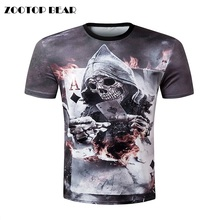ZOOTOP BEAR New design skull poker print Men short sleeve T shirt 3d t-shirt casual breathable t-shirt plus-size tshirt homme