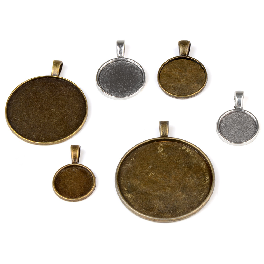 LFPU 14/16/18/20/25/30mm Blank Necklace Pendant Cameo Base Tray Bezel Jewelry Findings Fit For Clear Glass Cabochons
