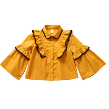 girls blouse 2019 white shirt pink yellow girls clothes 8 5 10 12 4 years long sleeve girl blouse tops big girl  bat sleeves