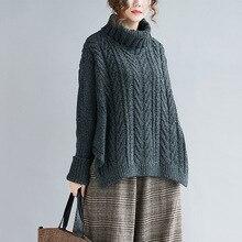 Johnature, новинка, Повседневный корейский свободный свитер с высоким воротом, Осень-зима, женские свитера, ВЯЗАННЫЙ ПУЛОВЕР, однотонные женские свитера