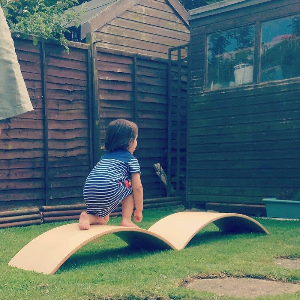 Balançoire en bois enfants sens du mouvement équilibre jouet intérieur courbé conseil maison grand courbé conseil bébé double jouet - 4