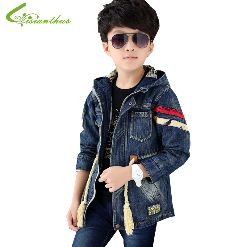 ФОТО Children Jeans Wears  Boys And Girls Coats Spring Autumn Jacket Kids Fashionable Clothes Cotton Tops Clothing Free Drop Shipping