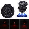 DC 12V 24V Car Motorcycle LED Display Digital Ammeter Voltage Meter  Red LED Indicator Car Accessories Round E#A3