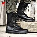 Z. суо Высокое Качество Натуральная Кожа Мужчины Сапоги Черные Военные Ботинки Тактические Ботинки Армейские Ботинки Мужчины botas Кожаные Ботинки