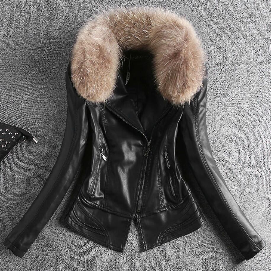 Cuir La Épaissir Zipper En Court Veste Pu Taille Plus Collar Fourrure De Fur Yellow Col black Mince 3xl Collar zfPSCwxqf1