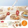 Candice guo rompecabezas de madera regalo de cumpleaños del bebé De juguete De Madera de pesca magnética cooking cocina play house game fish regalo de navidad