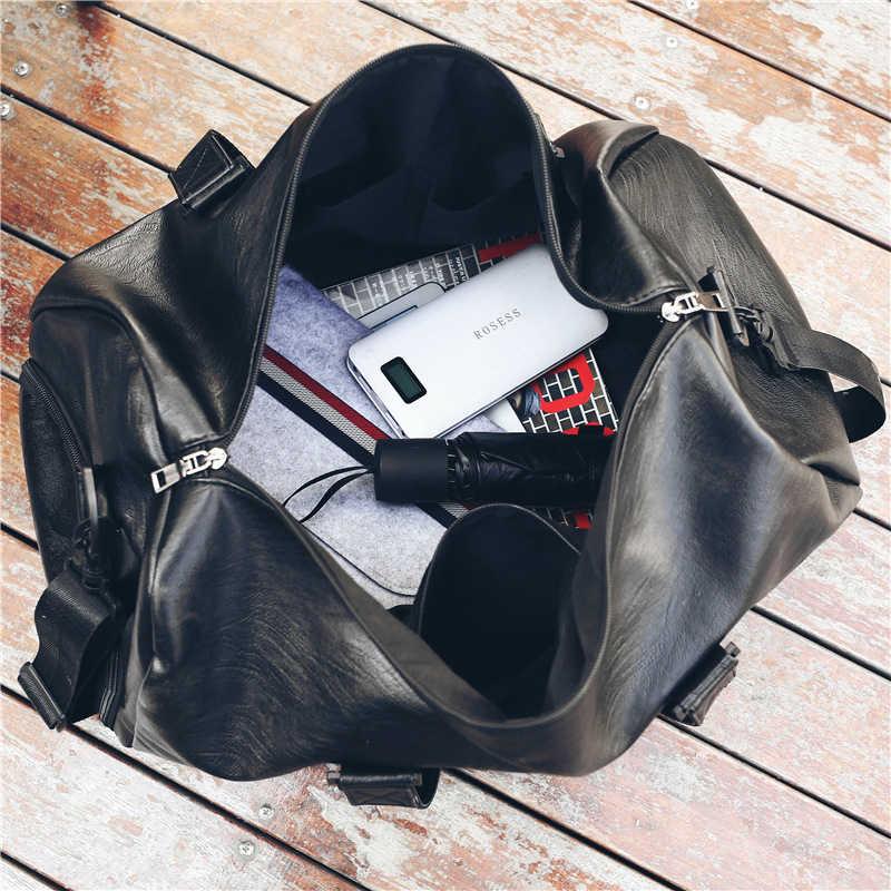 النساء الرجال جلدية سفر حقيبة للماء بو الجلود الرياضة حقائب الجيم للفتيات الصبي طالب حقائب قماش اليد الكتف حقيبة سفر