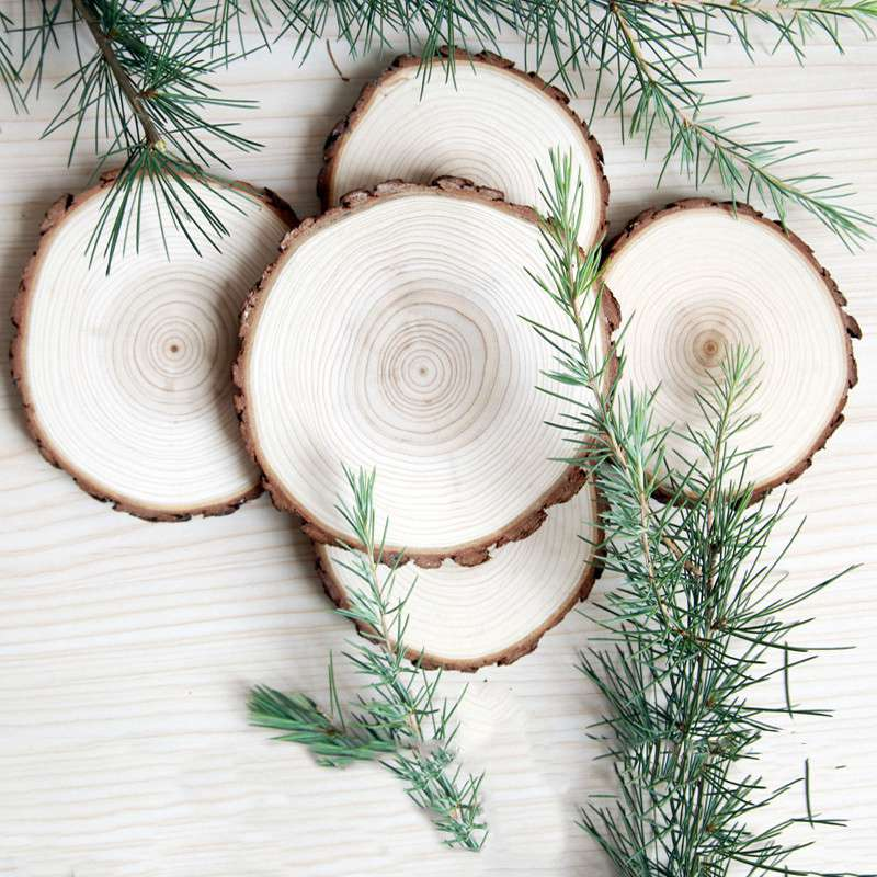 1PC Big Size Natural Wood Slices Diy Craft Decorations For Birthday Party Kids Large Paint Decor Wooden Wedding Decor Gift Tags