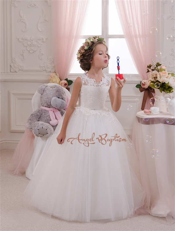 Cheap Crystal White Ball Gown Flower Girl Dresses Little Girls Pageant Dresses Plus Size dress for 12 Girls Party Dress plus size butterfly print ball gown dress