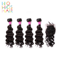 WoWigs Hair Brazilian Hair Remy Hair Deep Wave 4 / 3 Bundles Deal With Top Lace Closure Natural Color 1B