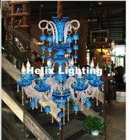 New Arrival Modern D75cm H93cm 8L Crystal Chandelier Clear Red Blue Chandelier Lighting Fancy Suspension Lamp