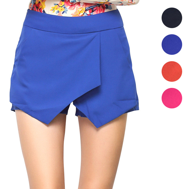 Summer Women   Shorts   Solid Color Irregular High Waist   Short   With Pockets JL