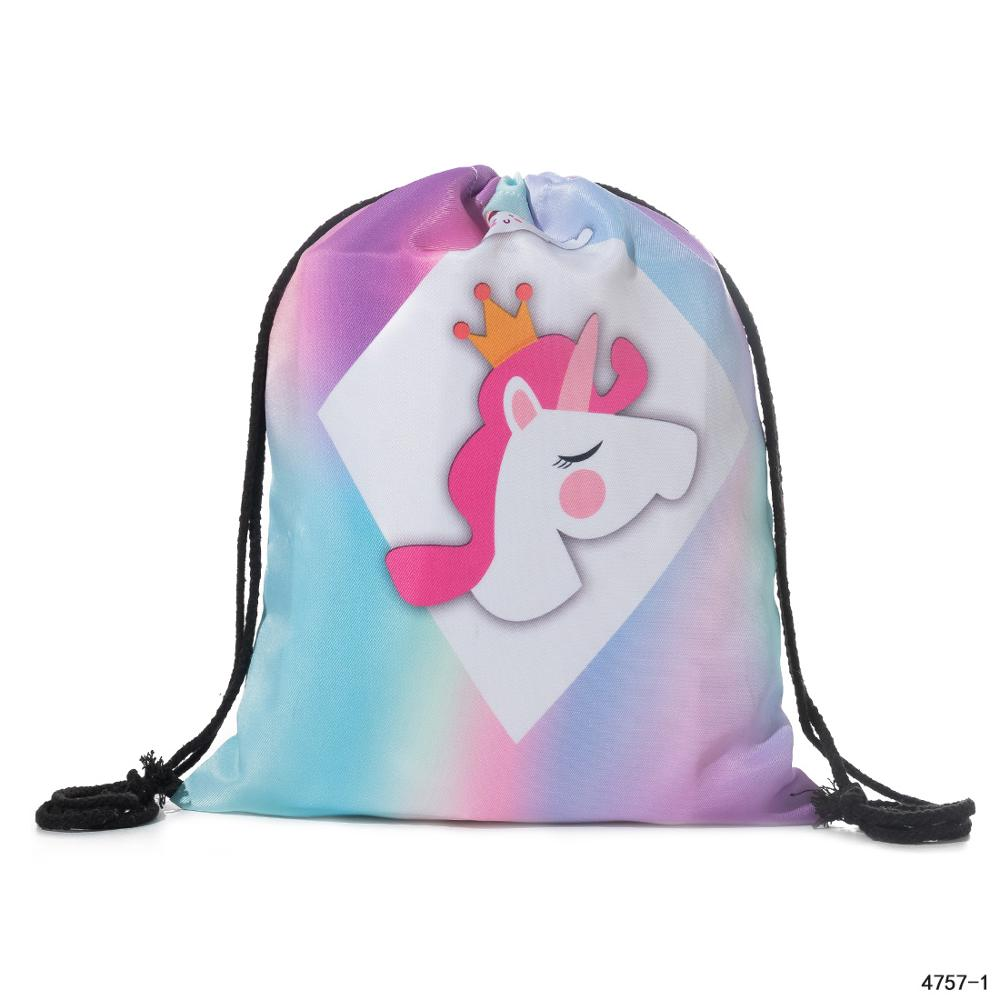 Miyahouse New Fashion Drawstring Backpack 3D Printed Unicorn Design Travel Softback Women Mochila School Drawstring Bag For Girl