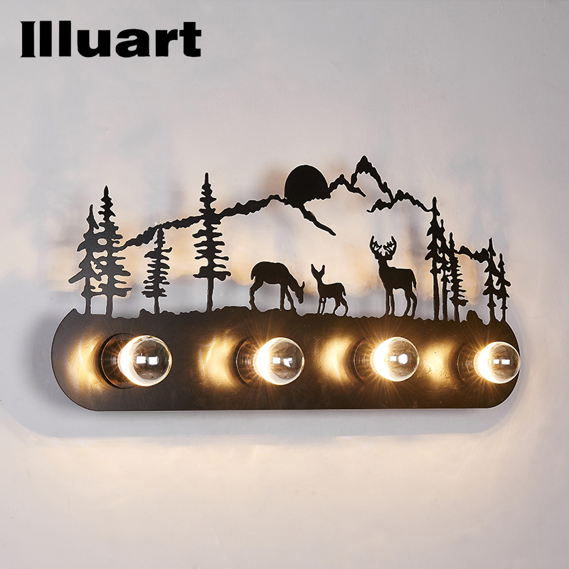 Retro Sconce Wall lamp Creative Deer Horse Windmill Wall lighting Mounted lamp loft vintage iron Lamparas De Pared Living Room