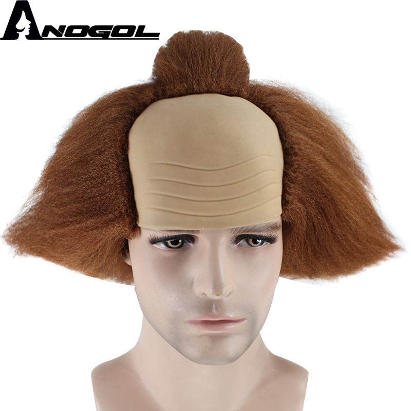 Anogol High Temperature Fiber Short Yaki Straight Brown Pennywise Synthetic Cosplay Wig For Halloween Party ...