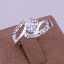 Fashion Women Jewelry Silver Plated Clear Cubic Zirconia CZ Finger Wedding Rings