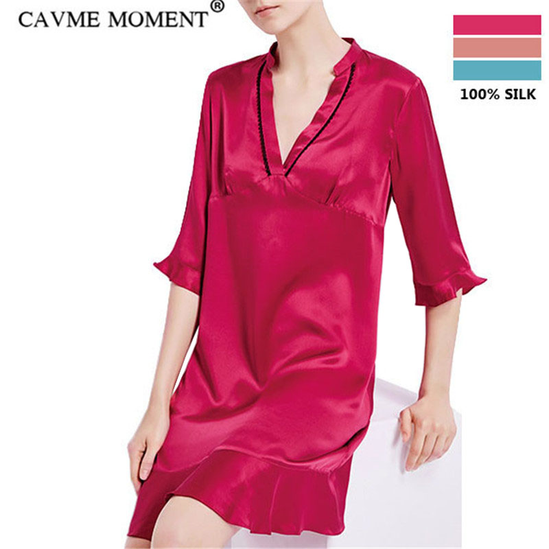 CAVME Luxury Silk   Nightgowns   Women Ladies Ruffles   Sleepshirt   V-Neck Sleepwear Red Pink Blue Solid Color Homeclothes