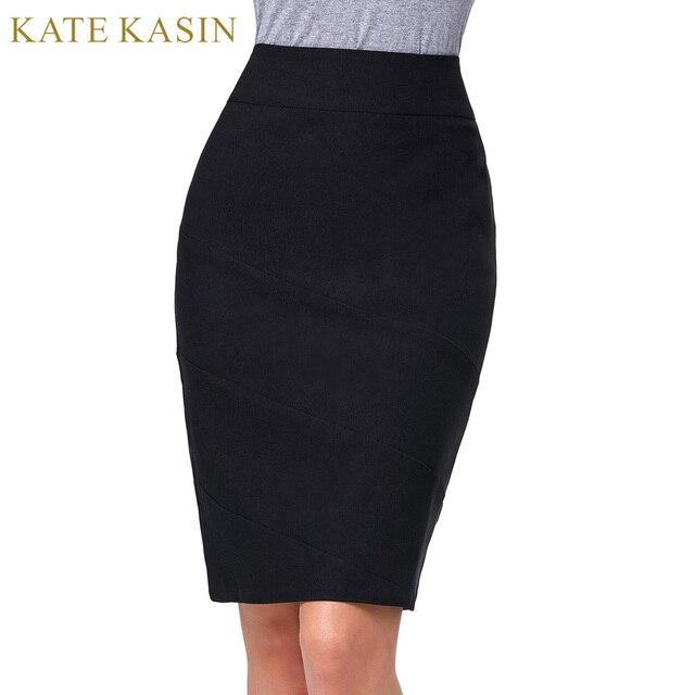 99d24e224e9 Kate Kasin 2017 Summer OL Skirt Women High Waist Pencil Skirts Black Sexy  Stretchy Bandage Skirt Formal Office Business Saias