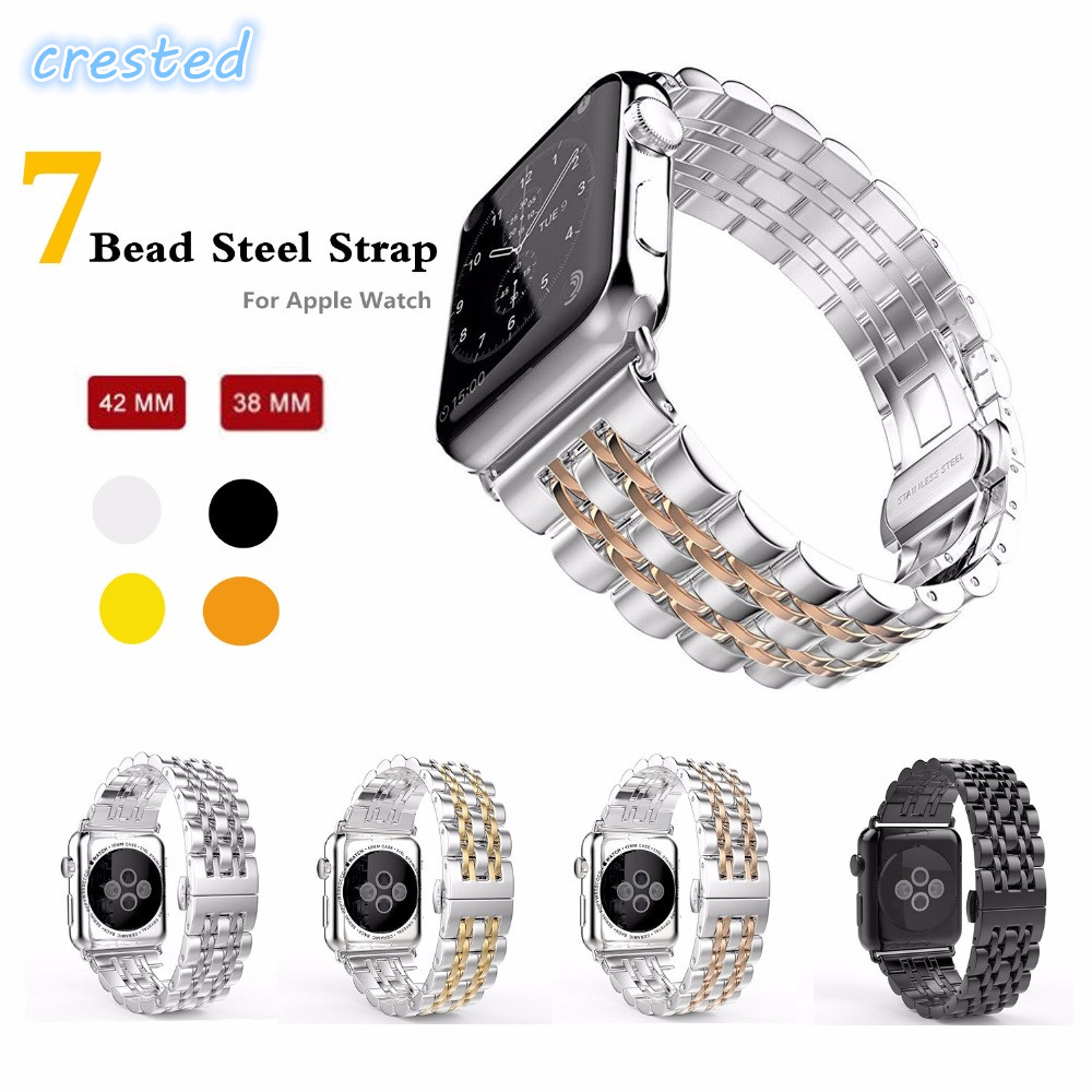CRESTED 316L Stainless Steel band for apple watch 42mm/38 strap butterfly buckle watchband metal link bracelet for iwatch 1 2 3 goosuu luxury watchband metal watch strap for apple watch band 42 mm stainless steel link bracelet 38 mm butterfly loop black