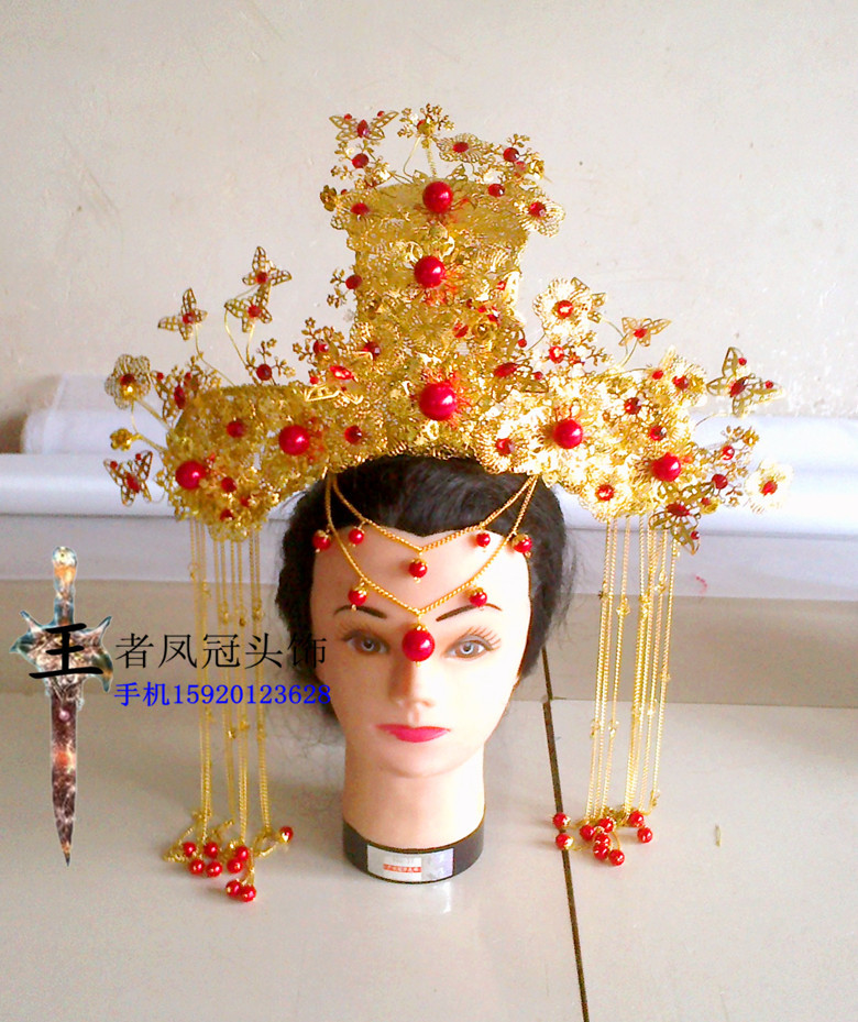 Vintage Chinese Women Wedding Tiaras Hair Piece Red Gold Bridal Wedding Crownpiece with Tassel Ancient Empress Hair Jewelry 00009 red gold bride wedding hair tiaras ancient chinese empress hair piece