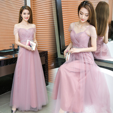 Dusty Pink Long Bridesmaid Dress Sweetheart Tulle Cheap Pleated Prom Dresses Under $50 Junior Bridesmaid Gown Dama Dresses