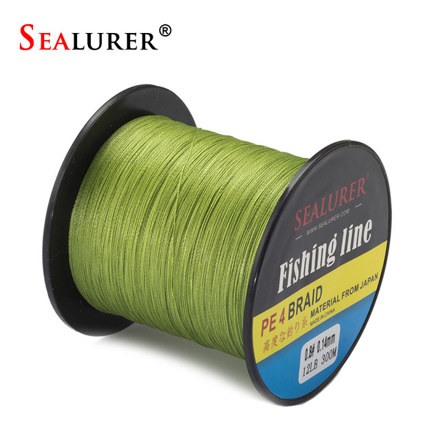 SEALURER Brand  300M 330Yards PE Braided  Yellow  Gray  Blue Green Fishing Line 4 stands 8LB 10LB 15LB 20LB  50LB Multifilament
