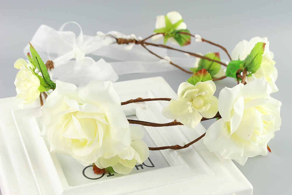 Beige color New Women girls Newest Wedding Headband Kids Party Floral garlands with Ribbon Adjustable flower