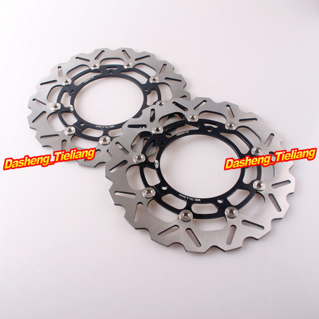 2PCS Front Brake Disc Rotors For YAMAHA 2007-2011 YZF R1 & 2005-2012 YZF-R6 & 2010 2011 FAZER 8 FZ8 Stainless Steel + Aluminum abs chrome front grille around trim for ford s max smax 2007 2010 2011 2012