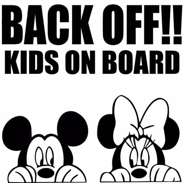 Back Off Kids On Board Cartoon Car Sticker Mickey Minnie