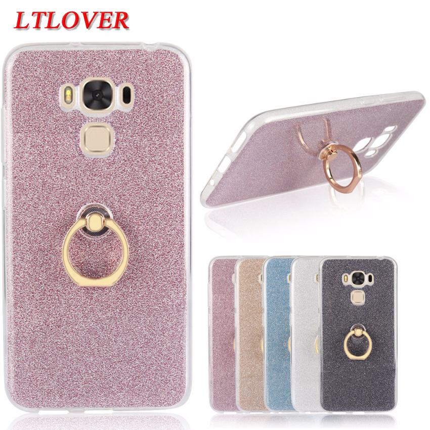 For Asus ZC553KL Bling Glitter Metal Circular Ring Stand soft Silicone Phone Case For ASUS ZenFone