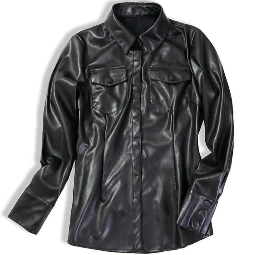 plus size 2XL PU shirt womem 2019 spring new slim single breasted lapel plus velvet leather blouse