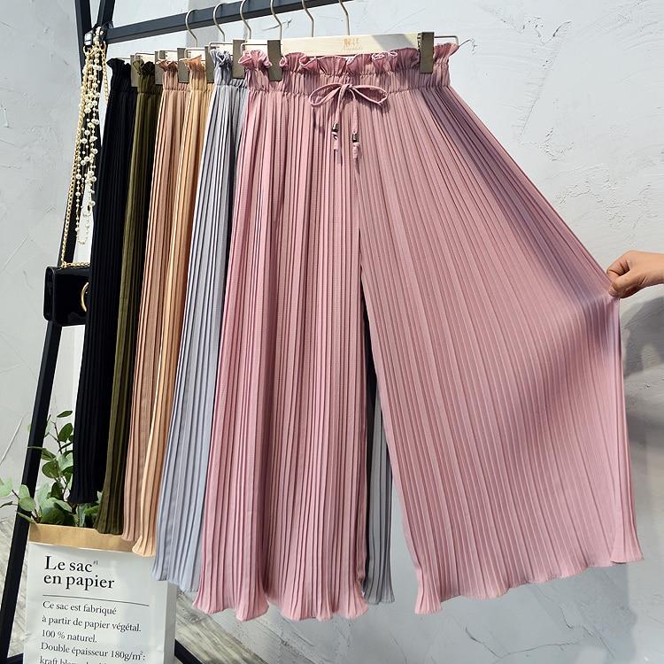 2019 Summer High Waist Lace Up Waist Pleated Pants Women Loose Wide Leg Chiffon Pants Lady Lace Up Waist Ankle Length Pants 35
