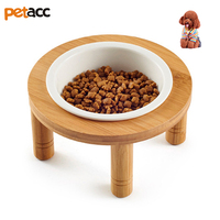 Petacc Elevated High Quality Pet Bowl Ceramic Cat Bowls Raised Puppy Water Bowl With Detachable Bamboo