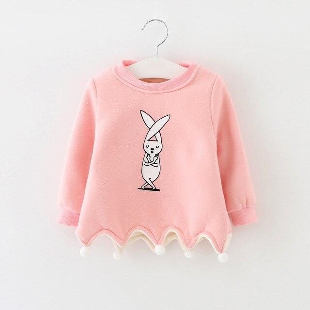 Розничная/оптовая 2016 новый зимняя одежда конфеты цвет мультфильм кролик печати sweatershirt утолщение новорожденных девочек детские пуловеры