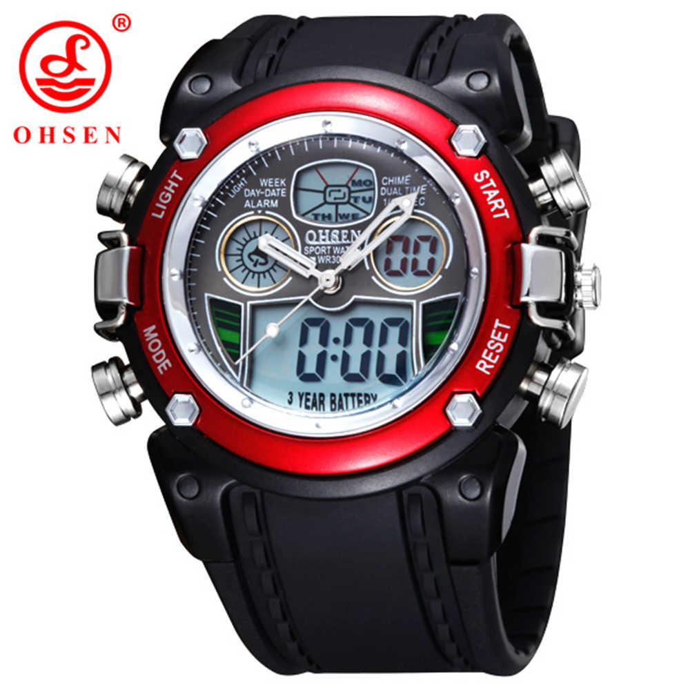 Hot OHSEN Dual Time Movement Multifunctional LED Digital Quartz Sports Watch Fashion Women Watches 30M Diving Children Watches