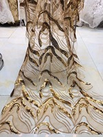 Fashionable gold sequin lace fabric/embroidered mesh material for party dress evening dress free shipping by DHL
