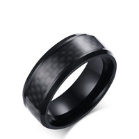 Men S Stainless Steel Ring 8MM Carbon Fiber Foreign Trade Ring Ring Ring R 152