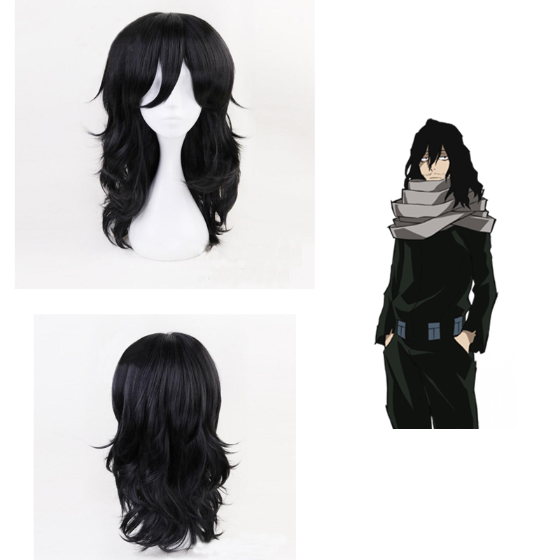 Anime Boku no Hero Academia Shouta Aizawa Cosplay Wigs Costume My Hero Academia Black Curly Synthetic Hair +Wig Cap