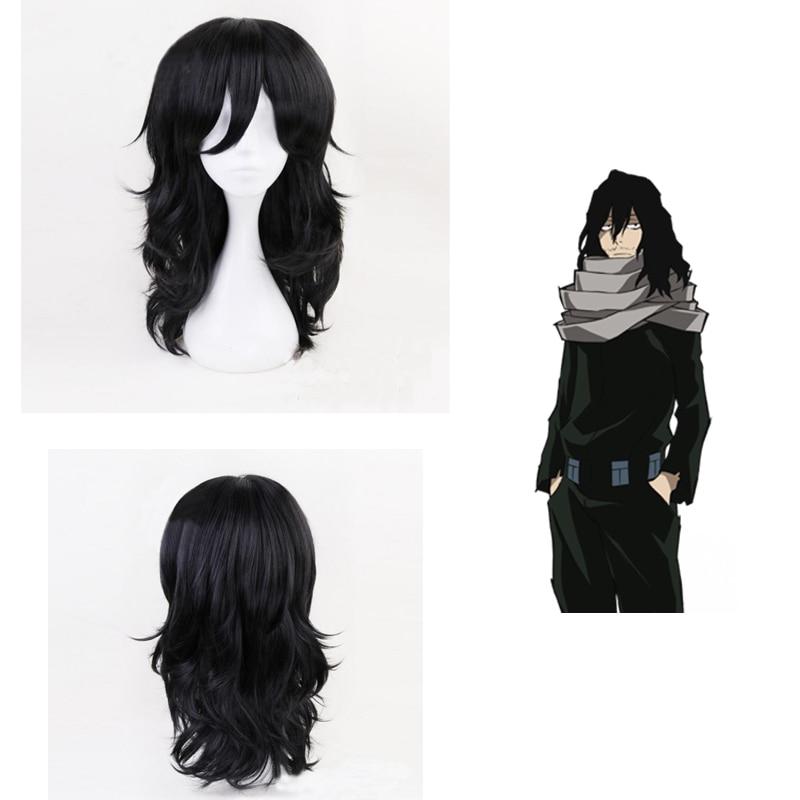 Anime Boku No Hero Academia Shouta Aizawa Cosplay Wigs Costume My Hero Academia Black Curly Synthetic Hair +Wig Cap