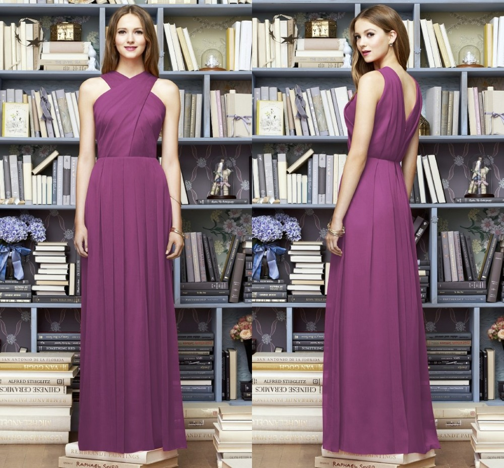 Charming A line Long Wedding Party Gowns 2015 Custom Made Purple ...