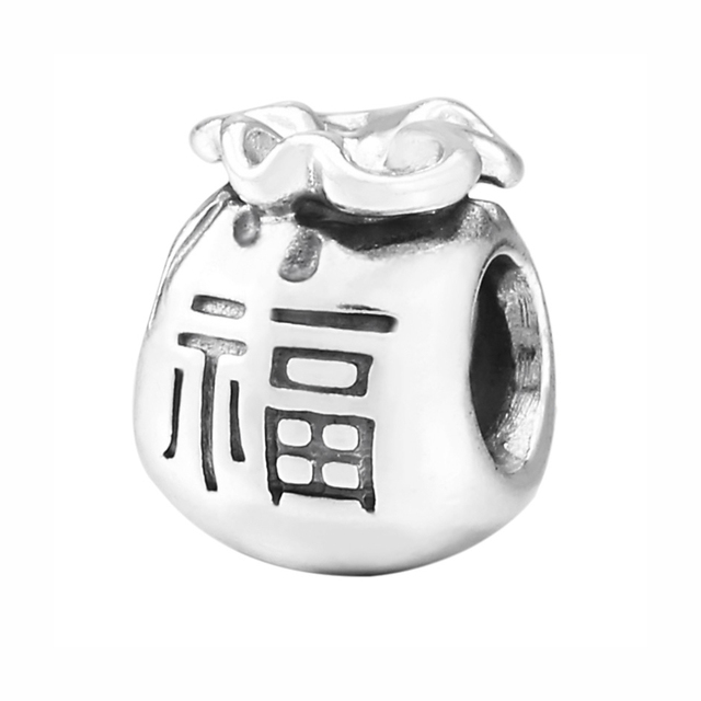 925 Sterling Silver Bead Charm Chinese Characters Good Fortune Moneybag Beads Fit Pandora Bracelet Bangle Diy